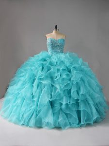 Decent Sweetheart Sleeveless Ball Gown Prom Dress Beading and Ruffles Aqua Blue Organza