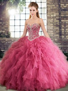 Suitable Watermelon Red Sweetheart Neckline Beading and Ruffles Quinceanera Dress Sleeveless Lace Up