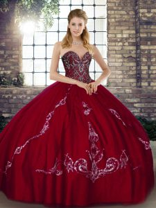 Dynamic Sleeveless Floor Length Beading and Embroidery Lace Up Quince Ball Gowns with Wine Red