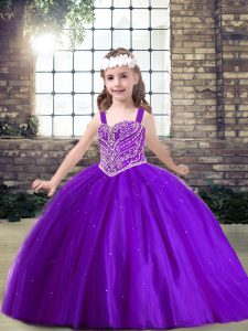 Purple Sleeveless Floor Length Beading Lace Up Little Girls Pageant Gowns