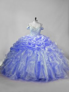 Pretty Sleeveless Beading and Ruffles and Pick Ups Lace Up Quinceanera Dress with Lavender and Purple Brush Train