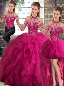 Fuchsia Tulle Lace Up Halter Top Sleeveless Floor Length Ball Gown Prom Dress Beading and Ruffles