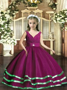 Purple Backless Little Girls Pageant Gowns Beading and Ruching Sleeveless Floor Length