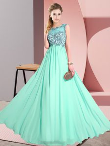 Fashionable Apple Green Sleeveless Floor Length Beading and Appliques Backless Quinceanera Court of Honor Dress