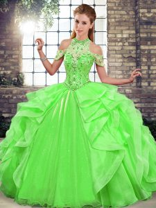 Modest Sleeveless Beading and Ruffles Lace Up Quinceanera Gown