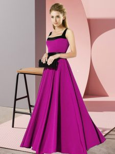 Fancy Sleeveless Floor Length Belt Zipper Damas Dress with Fuchsia