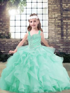 Sleeveless Tulle Floor Length Lace Up Pageant Dress Womens in Apple Green with Beading and Ruffles