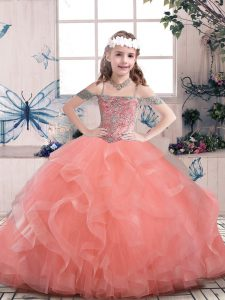 Sleeveless Tulle Floor Length Lace Up High School Pageant Dress in Watermelon Red with Beading and Ruffles