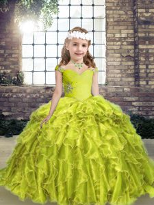Yellow Green Straps Neckline Beading and Ruffles Pageant Dress for Teens Sleeveless Lace Up