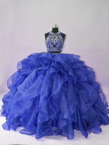 Attractive Royal Blue Sleeveless Organza Backless 15 Quinceanera Dress for Sweet 16 and Quinceanera