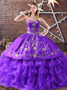 Floor Length Purple Quince Ball Gowns Sweetheart Sleeveless Lace Up