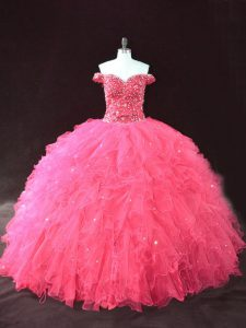 High End Hot Pink Ball Gowns Off The Shoulder Sleeveless Tulle Floor Length Lace Up Beading and Ruffles Vestidos de Quinceanera