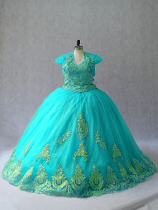 Romantic Aqua Blue Tulle Lace Up Sweetheart Sleeveless Quinceanera Dresses Appliques