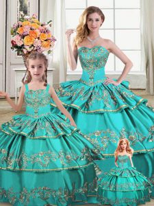 Wonderful Aqua Blue Sleeveless Floor Length Embroidery and Ruffled Layers Lace Up Vestidos de Quinceanera