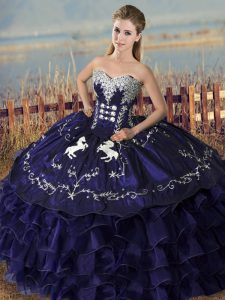 Ideal Floor Length Purple Quinceanera Gown Organza Sleeveless Embroidery and Ruffles
