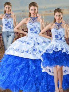 Blue And White Three Pieces Organza Halter Top Sleeveless Embroidery and Ruffles Floor Length Lace Up Ball Gown Prom Dress Court Train