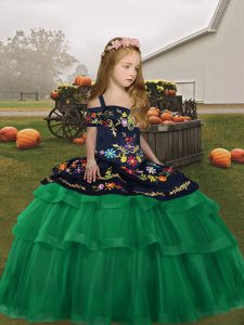 Best Green Girls Pageant Dresses Party and Wedding Party with Embroidery and Ruffled Layers Straps Sleeveless Lace Up