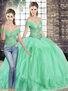 Excellent Off The Shoulder Sleeveless Lace Up Ball Gown Prom Dress Apple Green Tulle