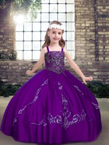 Perfect Sleeveless Floor Length Beading Lace Up Pageant Dress for Girls with Purple
