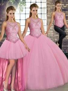 Floor Length Lace Up 15th Birthday Dress Pink for Military Ball and Sweet 16 and Quinceanera with Embroidery