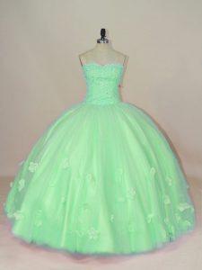 Green Tulle Lace Up Sweetheart Sleeveless Floor Length Quinceanera Gowns Hand Made Flower