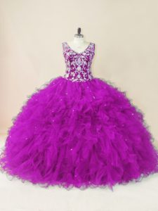 Free and Easy Fuchsia Ball Gowns V-neck Sleeveless Tulle Floor Length Backless Beading 15 Quinceanera Dress