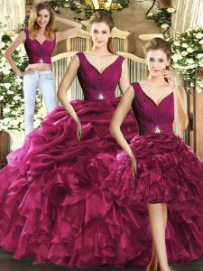 Traditional Burgundy Backless V-neck Ruffles and Pick Ups Vestidos de Quinceanera Organza Sleeveless