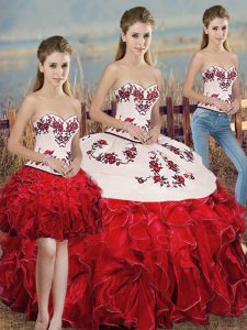 Floor Length White And Red Sweet 16 Dresses Organza Sleeveless Embroidery and Ruffles and Bowknot