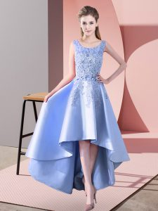 Satin Sleeveless High Low Dama Dress for Quinceanera and Lace