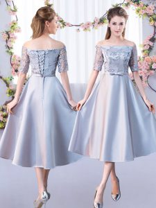 Dazzling A-line Quinceanera Court Dresses Silver Off The Shoulder Satin Half Sleeves Tea Length Lace Up