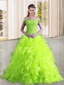 Yellow Green Ball Gown Prom Dress Organza Sweep Train Sleeveless Beading and Lace and Ruffles