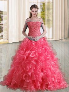 Captivating Coral Red Sleeveless Organza Sweep Train Lace Up 15th Birthday Dress for Military Ball and Sweet 16 and Quinceanera