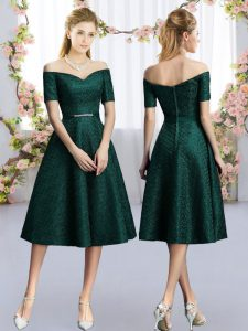 Simple Dark Green Off The Shoulder Belt Damas Dress Lace Short Sleeves