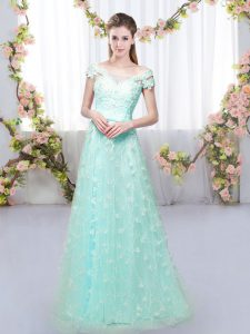 Appliques Dama Dress Apple Green Lace Up Cap Sleeves Floor Length