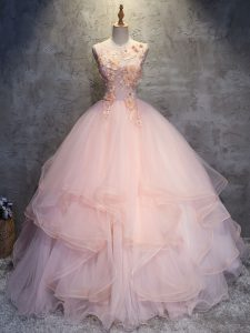 Luxury Floor Length Pink Sweet 16 Dresses Scoop Sleeveless Lace Up