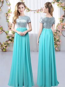 Aqua Blue Empire Scoop Short Sleeves Chiffon Floor Length Zipper Sequins Quinceanera Court Dresses