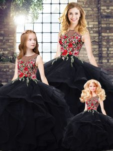 Black Bateau Lace Up Beading and Embroidery Quinceanera Gowns Sleeveless