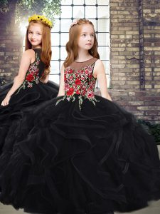 Sleeveless Embroidery and Ruffles Zipper Girls Pageant Dresses with Black Sweep Train