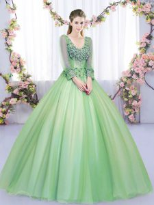 V-neck Long Sleeves Lace Up Sweet 16 Quinceanera Dress Green Tulle