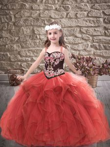 Embroidery and Ruffles Little Girls Pageant Dress Wholesale Red Lace Up Sleeveless Floor Length
