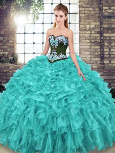 Glorious Sweep Train Ball Gowns Quinceanera Gown Turquoise Sweetheart Organza Sleeveless Lace Up