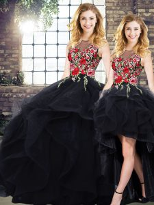 Floor Length Black Ball Gown Prom Dress Tulle Sleeveless Beading and Embroidery