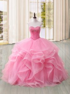 Vintage Sleeveless Tulle Sweep Train Lace Up Quince Ball Gowns in Pink with Beading and Ruffles