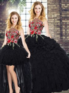 Floor Length Black Quinceanera Gowns Organza Sleeveless Embroidery and Ruffles