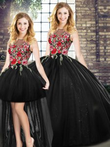 Beauteous Black Zipper 15 Quinceanera Dress Embroidery Sleeveless Floor Length