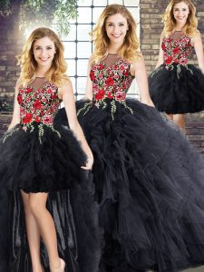 Black Zipper Scoop Embroidery and Ruffles Quinceanera Gowns Sleeveless
