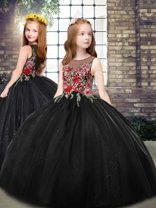 High End Scoop Sleeveless Zipper Little Girls Pageant Dress Wholesale Black Tulle