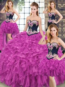 Adorable Fuchsia Sleeveless Embroidery and Ruffles Lace Up Sweet 16 Dresses