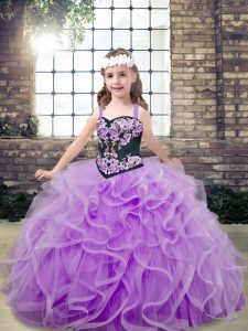 Superior Lavender Kids Pageant Dress Party and Wedding Party with Embroidery and Ruffles Straps Sleeveless Lace Up