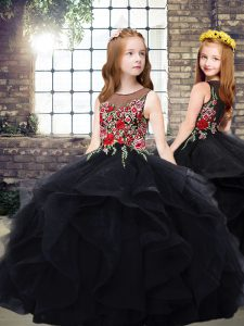 Glorious Sleeveless Tulle Floor Length Zipper Kids Pageant Dress in Black with Embroidery and Ruffles
